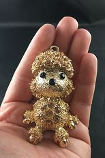 Adorable Articulated Sitting Poodle Puppy Dog Pendant with Rhinestones on Textured Gold Tone #KXbqsu2IdVY
