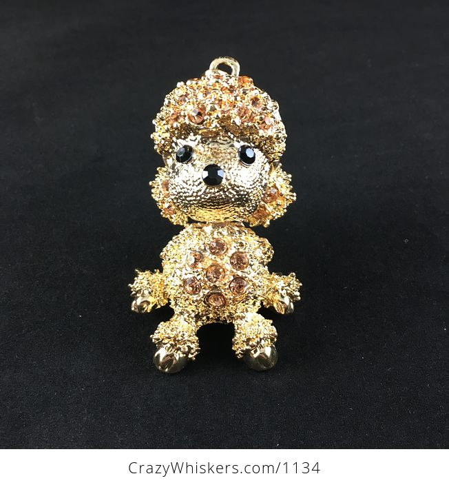 Adorable Articulated Sitting Poodle Puppy Dog Pendant with Rhinestones on Textured Gold Tone - #KXbqsu2IdVY-3