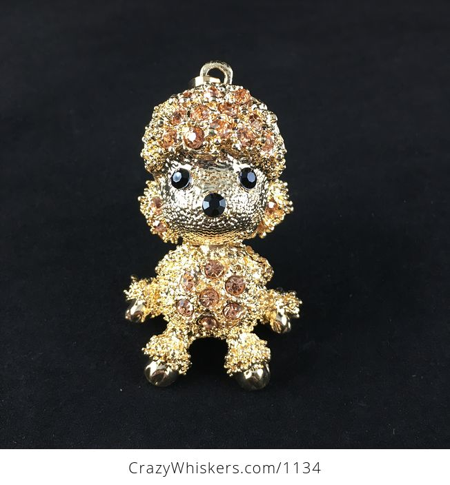 Adorable Articulated Sitting Poodle Puppy Dog Pendant with Rhinestones on Textured Gold Tone - #KXbqsu2IdVY-2