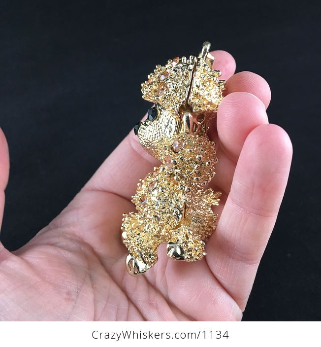 Adorable Articulated Sitting Poodle Puppy Dog Pendant with Rhinestones on Textured Gold Tone - #KXbqsu2IdVY-5