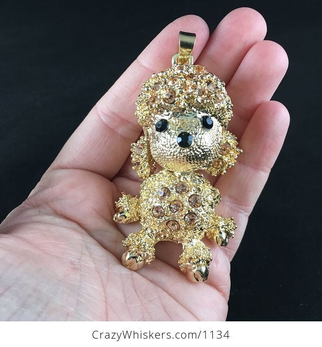 Adorable Articulated Sitting Poodle Puppy Dog Pendant with Rhinestones on Textured Gold Tone - #KXbqsu2IdVY-1