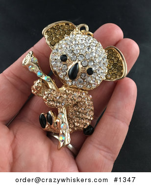 Adorable Articulated White and Champagne Rhinestone Koala Pendant on Gold Tone #DLeQJkvsEDs
