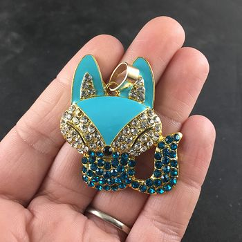Adorable Blue Enamel and Rhinestone Fox Pendant #1Q3lhVoh6xg