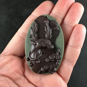 Adorable Festive Christmas Reindeer Carved Ribbon Jasper Stone Pendant Jewelry #SyUkUIJCApQ