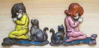 Adorable Vintage Painted Metal Sexton Praying Cat Dog Girl and Boy Wall Plaques Set of 2 #nDW1igqfhx8