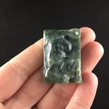 Animal Stone Jewelry Pendant Carved Attacking Tiger in Green Jasper #ygRzz8EqMzA