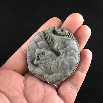 Animal Stone Jewelry Pendant Carved Attacking Tiger in Ribbon Jasper #rMohQRiUUjE