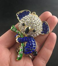 Articulated Cute Koala on a Branch Pendant with Rhinestones and Royal Blue Coloring #Cec3qxfrGEU