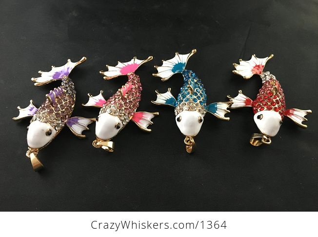 Awesome Red Blue Pink or Purple Koi Carp Fish Rhinestone Pendant with Articulated Moving Side Fins - #AQZsc1S0QkY-3