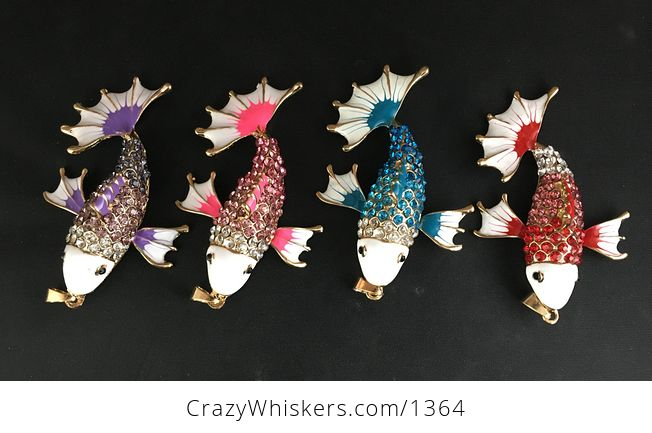 Awesome Red Blue Pink or Purple Koi Carp Fish Rhinestone Pendant with Articulated Moving Side Fins - #AQZsc1S0QkY-1