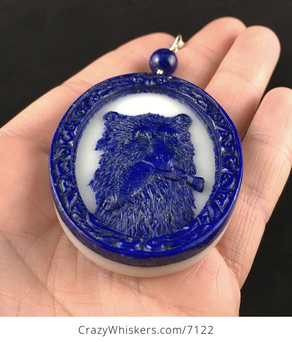 Bear Catching Fish in an Oval Frame Carved Lapis Lazuli Stone Pendant Jewelry - #NqPQuYbf7s8-2