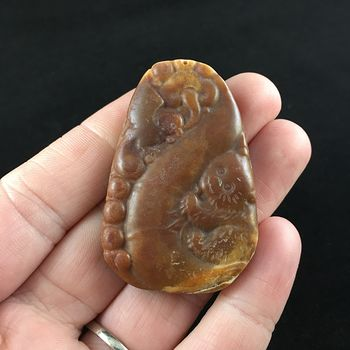 Bear Cub Carved Huanglong Jade Stone Pendant Jewelry #t9Nci0nkno0