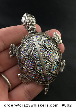 Beautiful Articulated Turtle Tortoise Brooch Pin and Pendant with Aurora Borealis Rhinestones #Ze6hO8NiofQ