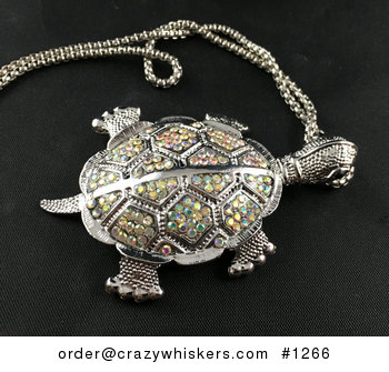 Beautiful Articulated Turtle Tortoise Pendant with Colorful Aurora Borealis Rhinestones #5Z2Bxb4WjUI