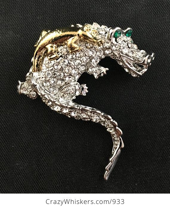 Beautiful Brooch Pin of a Gold Tone Baby Crocodile on Mammas Back with Rhinestones on Silver Tone - #yojriqqQkJk-2