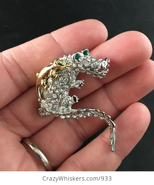 Beautiful Brooch Pin of a Gold Tone Baby Crocodile on Mammas Back with Rhinestones on Silver Tone - #yojriqqQkJk-1