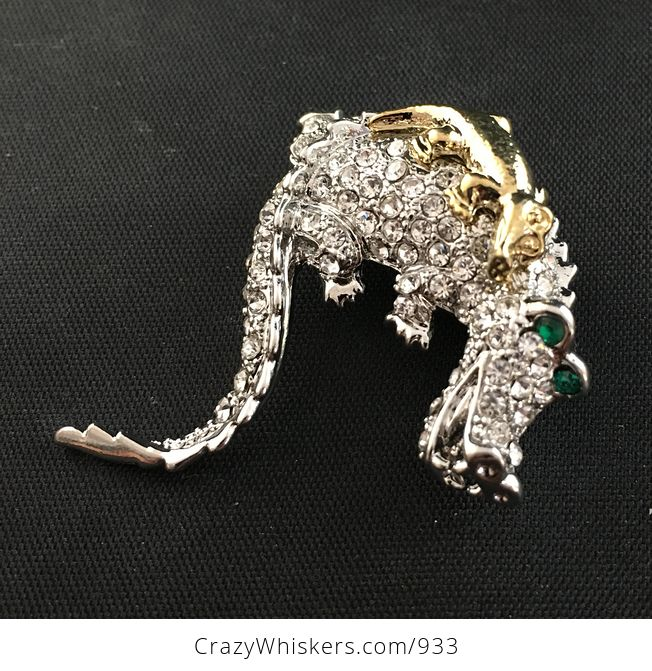 Beautiful Brooch Pin of a Gold Tone Baby Crocodile on Mammas Back with Rhinestones on Silver Tone - #yojriqqQkJk-3