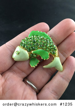 Beautiful Brooch Pin of a Jumping Green Fish with Rhinestones #JUPKbMeQPgE