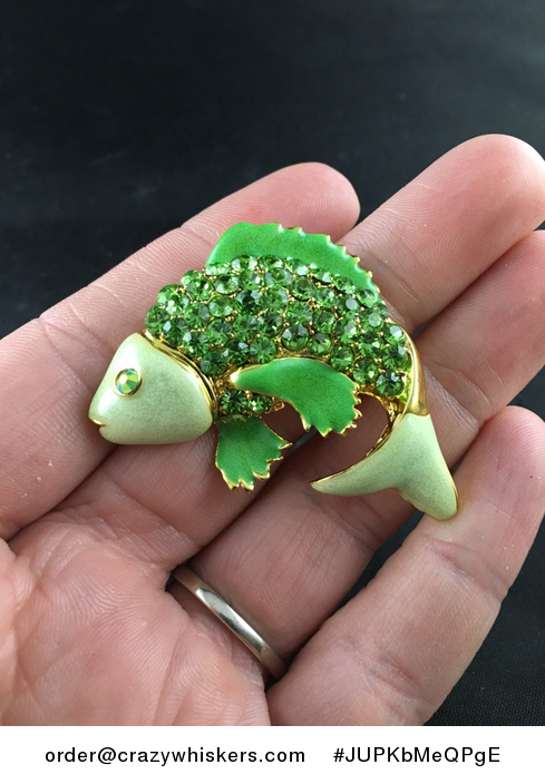Beautiful Brooch Pin of a Jumping Green Fish with Rhinestones - #JUPKbMeQPgE-1