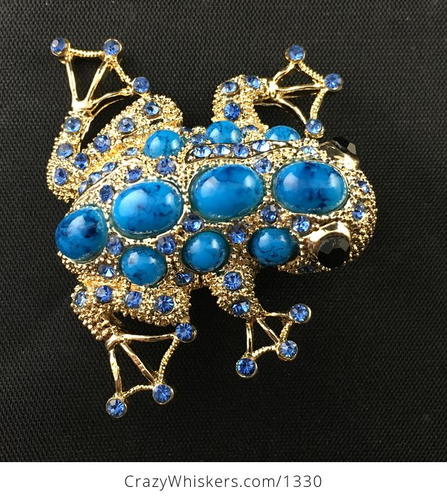 Beautiful Gold Tone Frog Brooch Pin with Blue Stones and Rinestones - #r5PMwEDgQgc-2