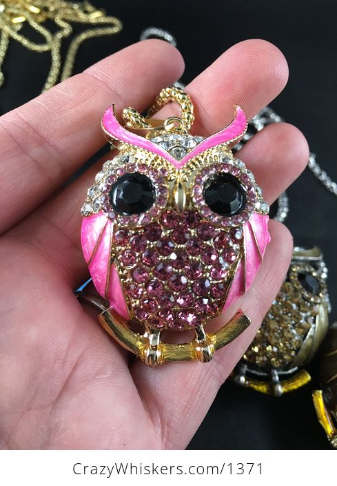 Beautiful Owl Pendant with Rhinestone and Metallic Enamel in Pastel Pink and White Hot Pink Blue Light Brown Dark Brown Gray - #7SuJvQ6MdPw-2