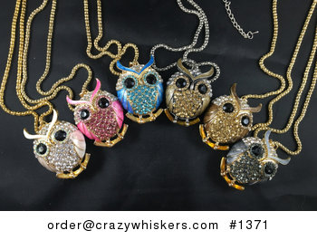 Beautiful Owl Pendant with Rhinestone and Metallic Enamel in Pastel Pinkwhite Hot Pink Blue Light Brown Dark Brown Gray #7SuJvQ6MdPw