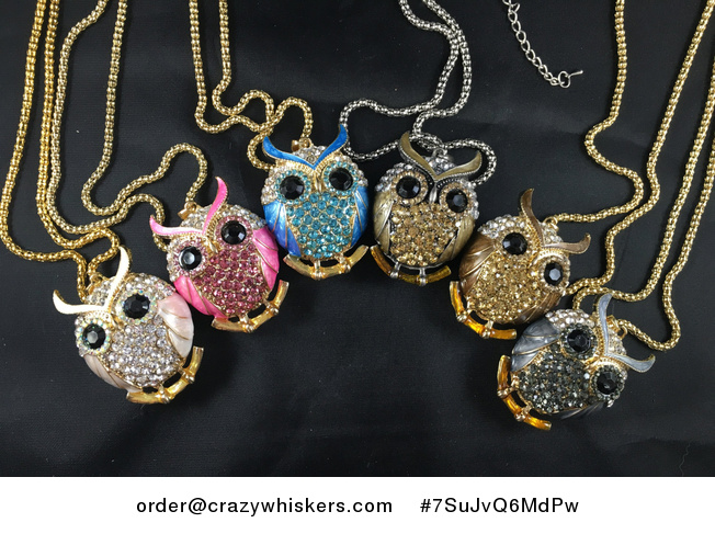Beautiful Owl Pendant with Rhinestone and Metallic Enamel in Pastel Pinkwhite Hot Pink Blue Light Brown Dark Brown Gray - #7SuJvQ6MdPw-1