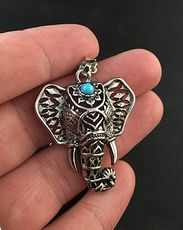 Beautiful Pendant of an Elephant Head with a Blue Stone and Cut Outs in Silver Tone Metal #sV2hIU95LXY