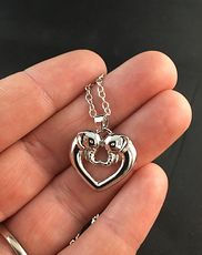 Beautiful Silver Tone Elephant Love Heart Shaped Pendant #B75J32zjOHo