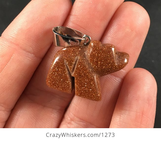 Beautiful Sparkly Carved Bear Shaped Orange and Gold Sand Stone Pendant Necklace - #JQbxZK7lZCo-1