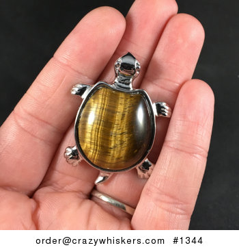 Beautiful Tigers Eye Stone and Silver Tone Pendant Necklace #uxv5FvB2Ydo