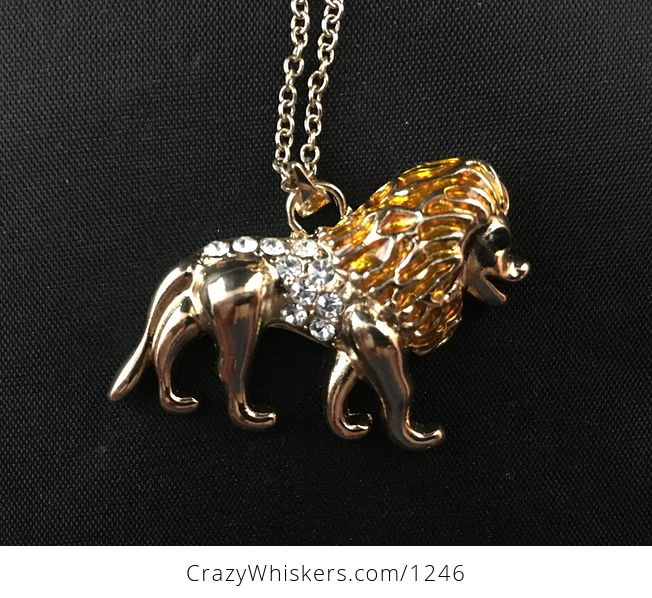 Beautiful Walking Male Lion Necklace Pendant in Gold Tone with Rhinestones - #I2KLfYOeNvA-3