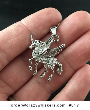 Beautiful Winged Horse Pegasus with White Crystal Rhinestones on Silver Tone #n1PN6IANTu0