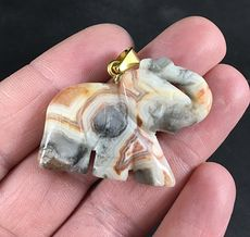 Beautifully Marked Gray Orange and Beige Carved Elephant Shaped Stone Pendant #RfkEVSE0wk0