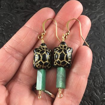 Black and Gold Turtles and African Jade Earrings with Gold Wire #1D2SD56eQ1s