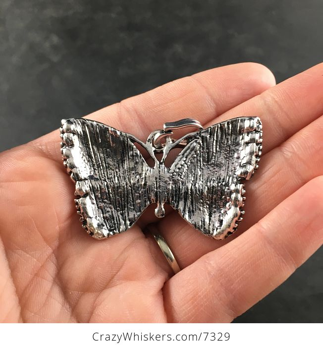 Black and Gray Silver Butterfly Rhinesone and Pearlescent Enamel Jewelry Necklace Pendant - #IFPqyydHys0-5