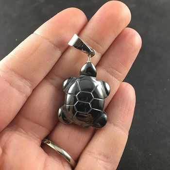 Black Carved Magnetic Hematite Stone Turtle Pendant #sjfG7czd5vw