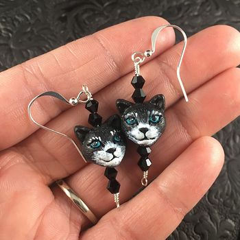 Black Hand Painted Peruvian Ceramic Kitty Cat Face Earrings #w7G2onuDv5A