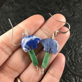 Blue Sodalite Bear and African Jade Earrings with Silver Wire #5oxadVft4Ng