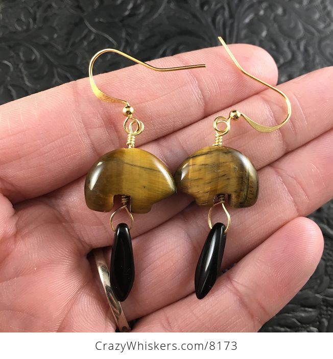 Brown Tiger Eye Bear and Black Dagger Earrings with Gold Wire - #cHJzIuVVRYU-1