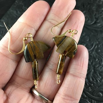 Brown Tiger Eye Bear Earrings with Gold Wire #5Taea5FojQY
