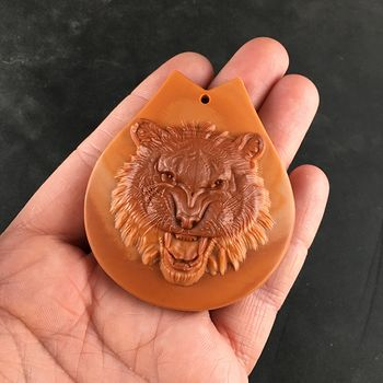Carved Angry Lion or Tiger Face in Orange and Red Malachite Stone Jewelry Pendant #lcFvKGIDsbw