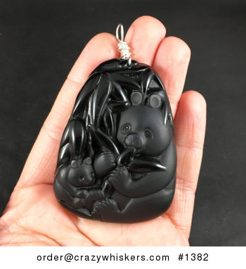 Carved Black Obsidian Jade Stone Mamma and Baby Panda and Bamboo Pendant with Silver Plated Wire Wrap Bail #IjT4gmTQTrU
