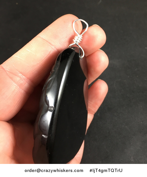 Carved Black Obsidian Jade Stone Mamma and Baby Panda and Bamboo Pendant with Silver Plated Wire Wrap Bail - #IjT4gmTQTrU-3