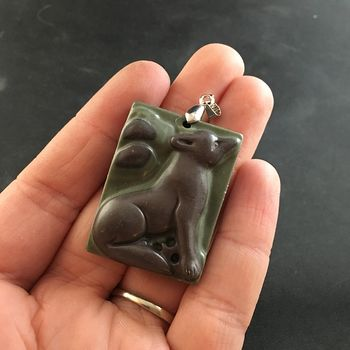 Carved Brown and Green Ribbon Jasper Sitting Wolf or Coyote Pendant #gZ1bL9h9Jdg