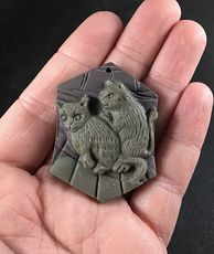 Carved Cats or Kittens Ribbon Jasper Stone Pendant with Wire Bail #Ot1dMktMH04