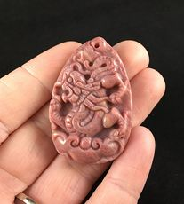 Carved Chinese Dragon Rhodonite Stone Pendant Jewelry #2Qovh0Eoz2c