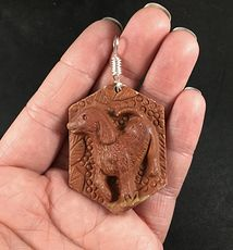Carved Dog Red Jasper Stone Pendant with Wire Bail #5ZwIT38XnQ0