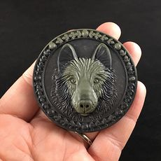 Carved Dog Wolf or Coyote Face in Ribbon Jasper Stone Jewelry Pendant #mUFDtWTYWKc