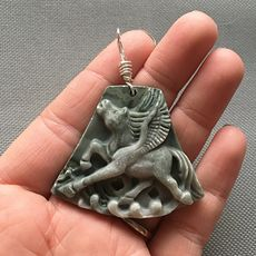 Carved Flying Winged Pegasus Horse Ribbon Jasper Stone Pendant with Wire Bail #TMiVU7tnF10